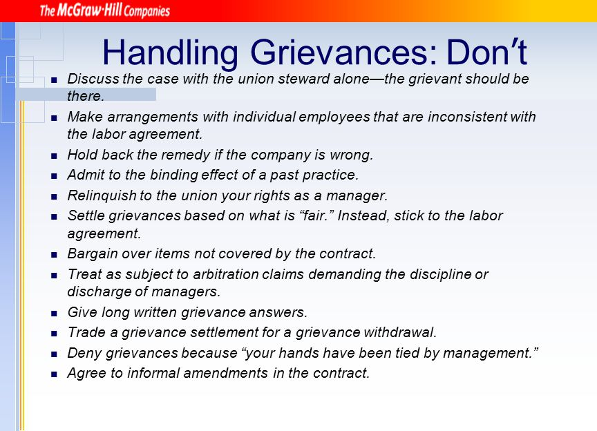 Handling Grievances: Don't