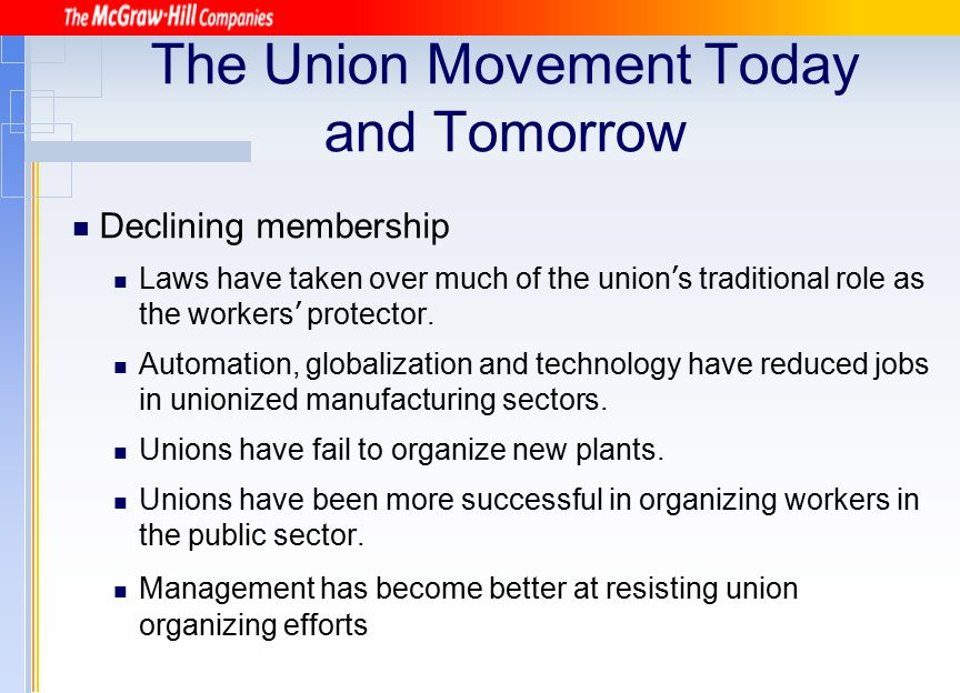 The Union Movement Today and Tomorrow
