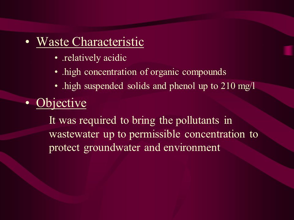 Waste Characteristic Objective