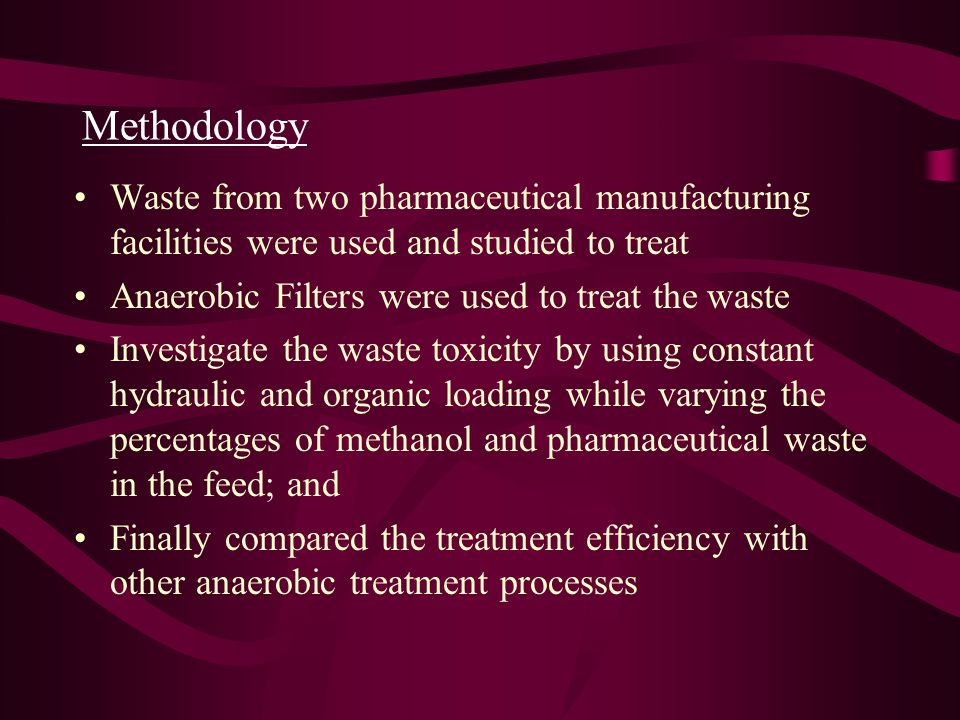 Methodology Waste from two pharmaceutical manufacturing facilities were used and studied to treat. Anaerobic Filters were used to treat the waste.