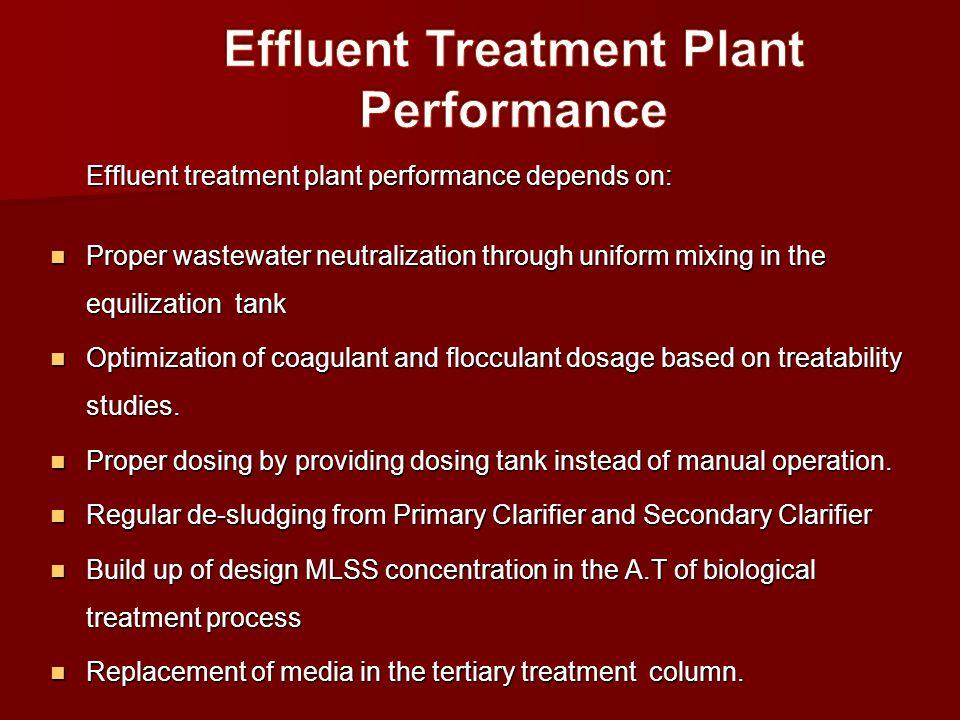 Effluent Treatment Plant Performance