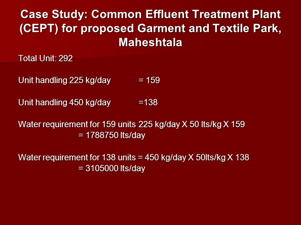 Case Study: Common Effluent Treatment Plant (CEPT) for proposed Garment and Textile Park, Maheshtala
