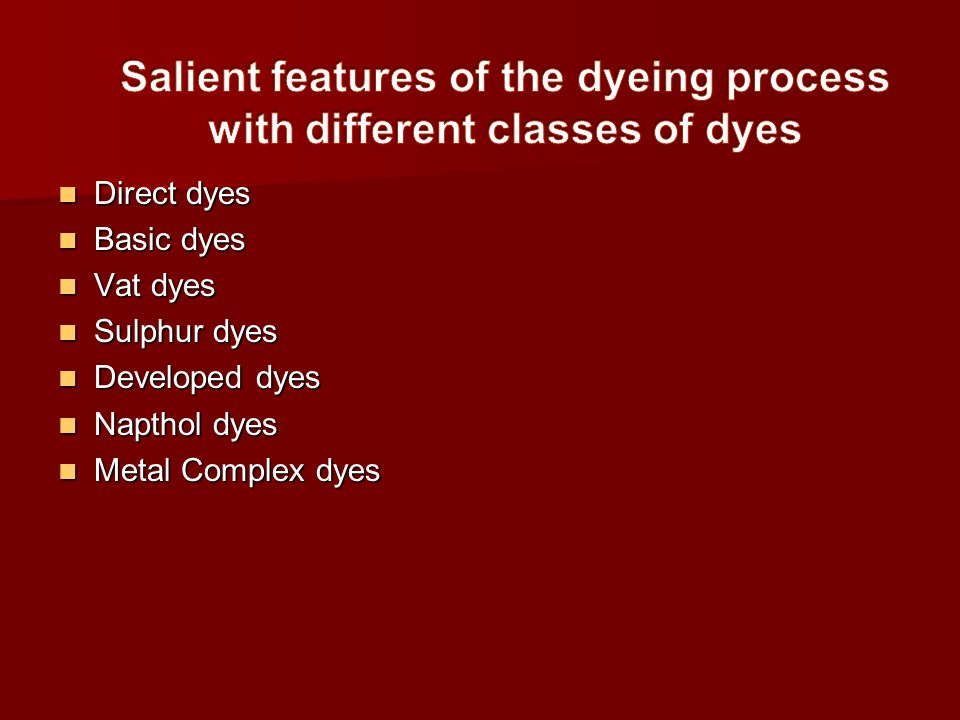 Salient features of the dyeing process with different classes of dyes