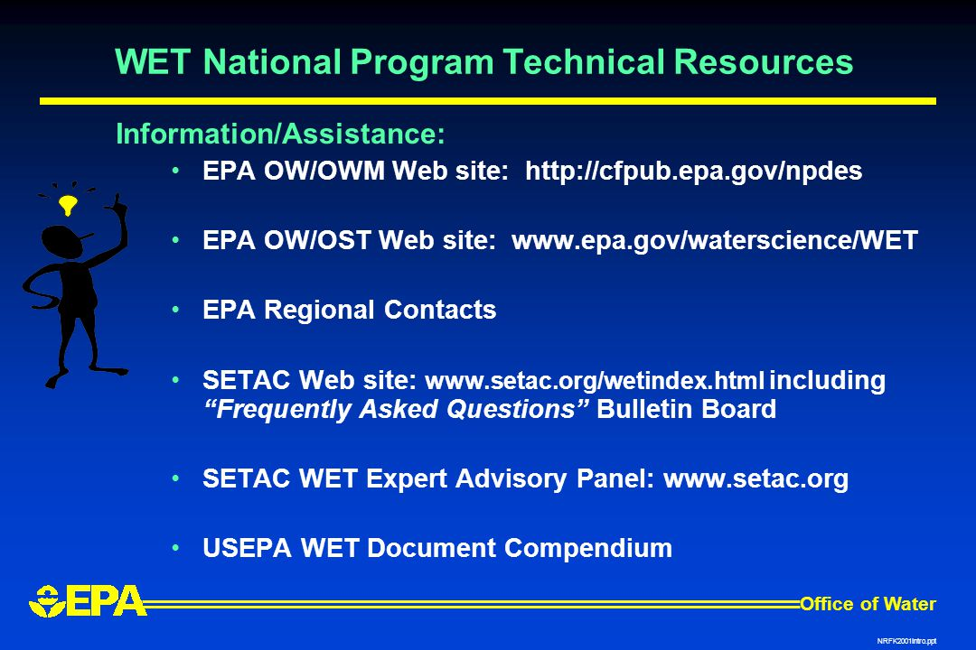 WET National Program Technical Resources