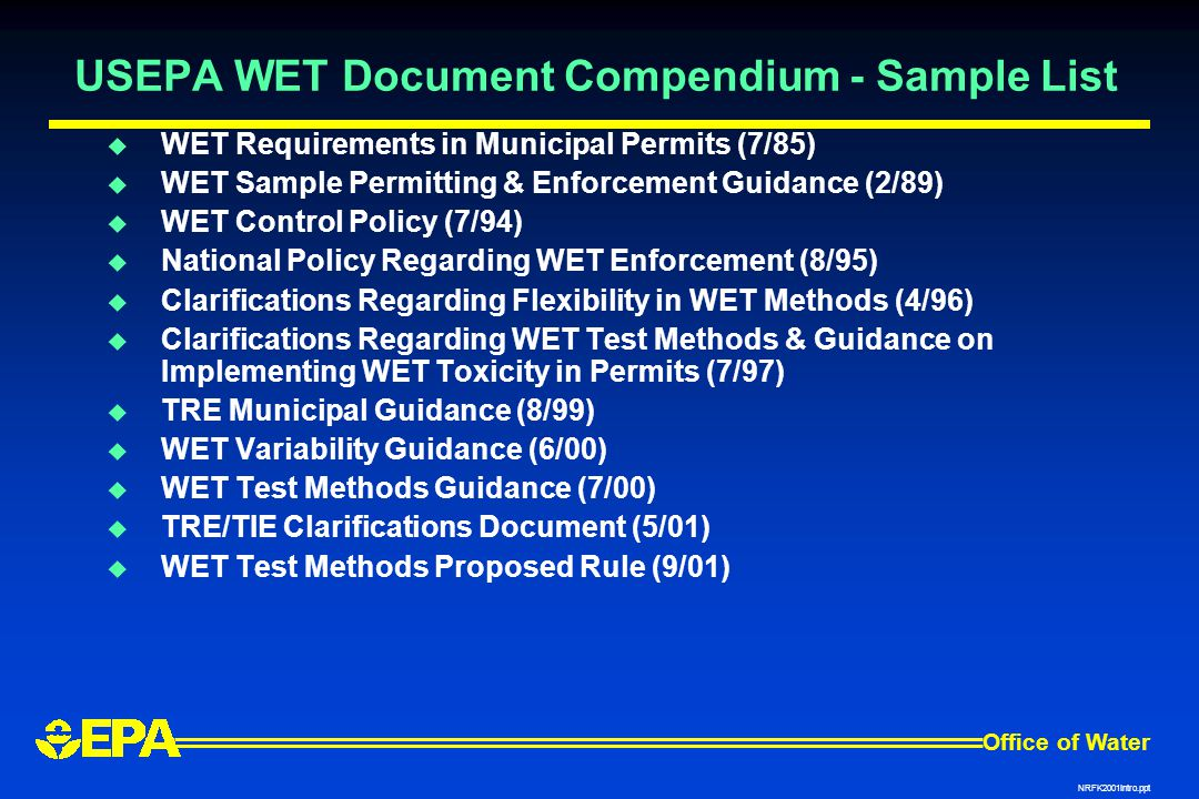 USEPA WET Document Compendium - Sample List