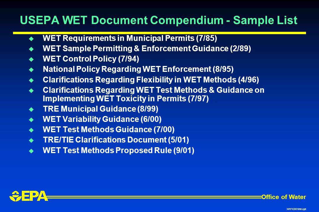USEPA WET Document Compendium - Sample List
