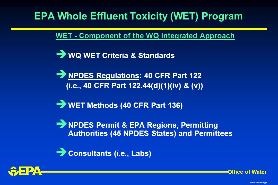 EPA Whole Effluent Toxicity (WET) Program