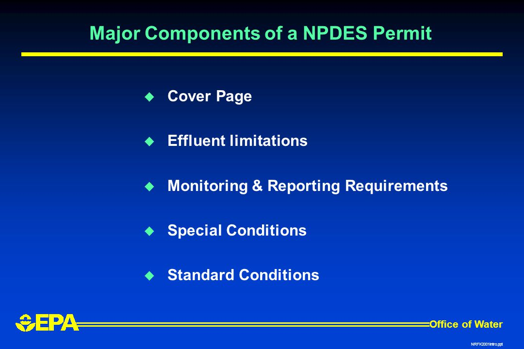 Major Components of a NPDES Permit