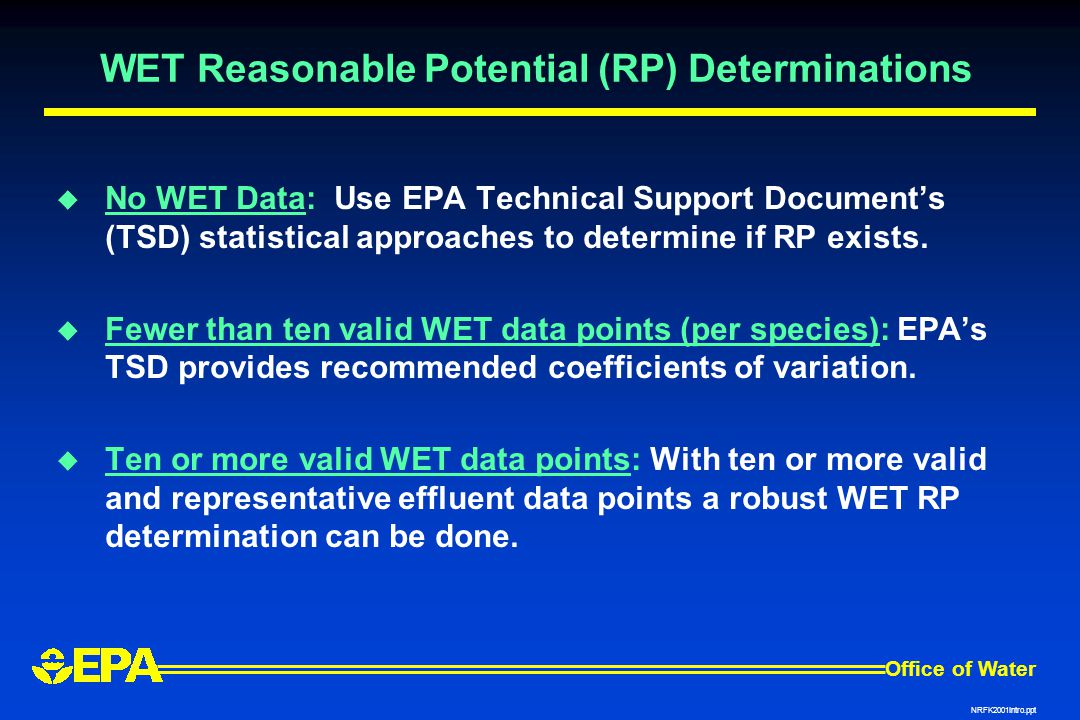 WET Reasonable Potential (RP) Determinations