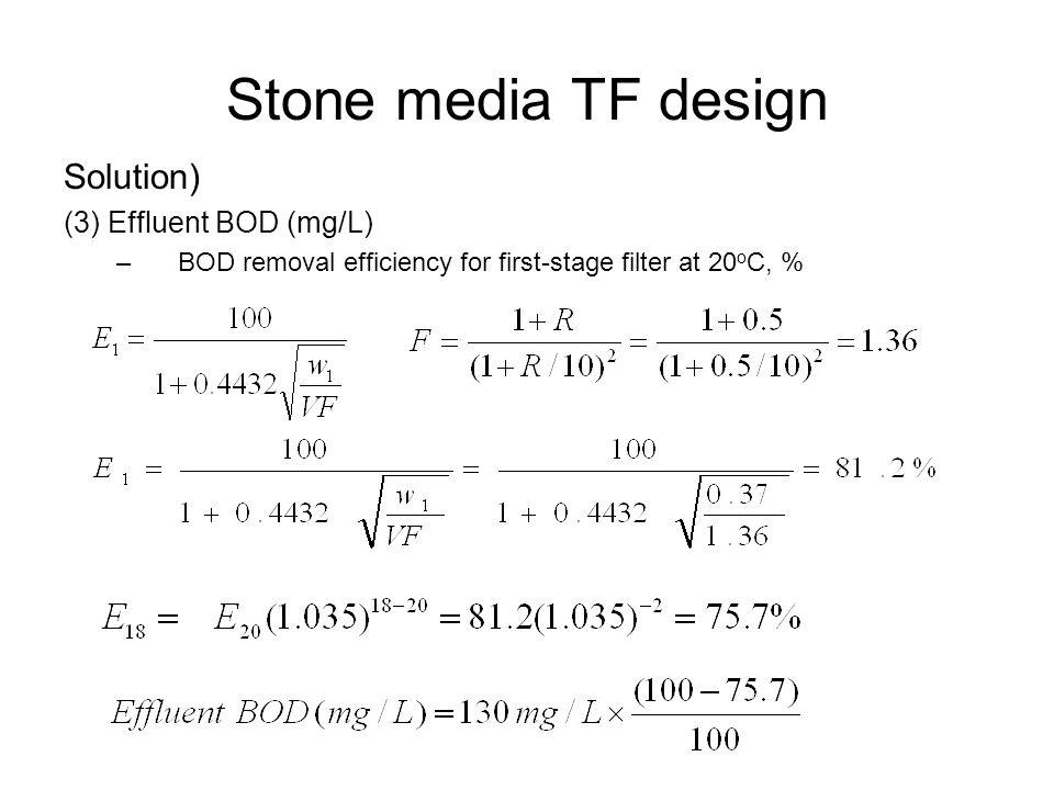 Stone media TF design Solution) (3) Effluent BOD (mg/L)