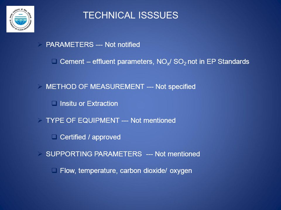 TECHNICAL ISSSUES PARAMETERS --- Not notified