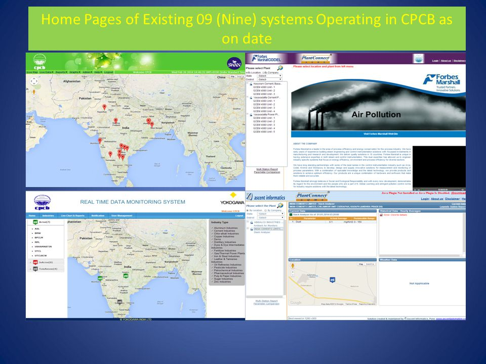 Home Pages of Existing 09 (Nine) systems Operating in CPCB as on date