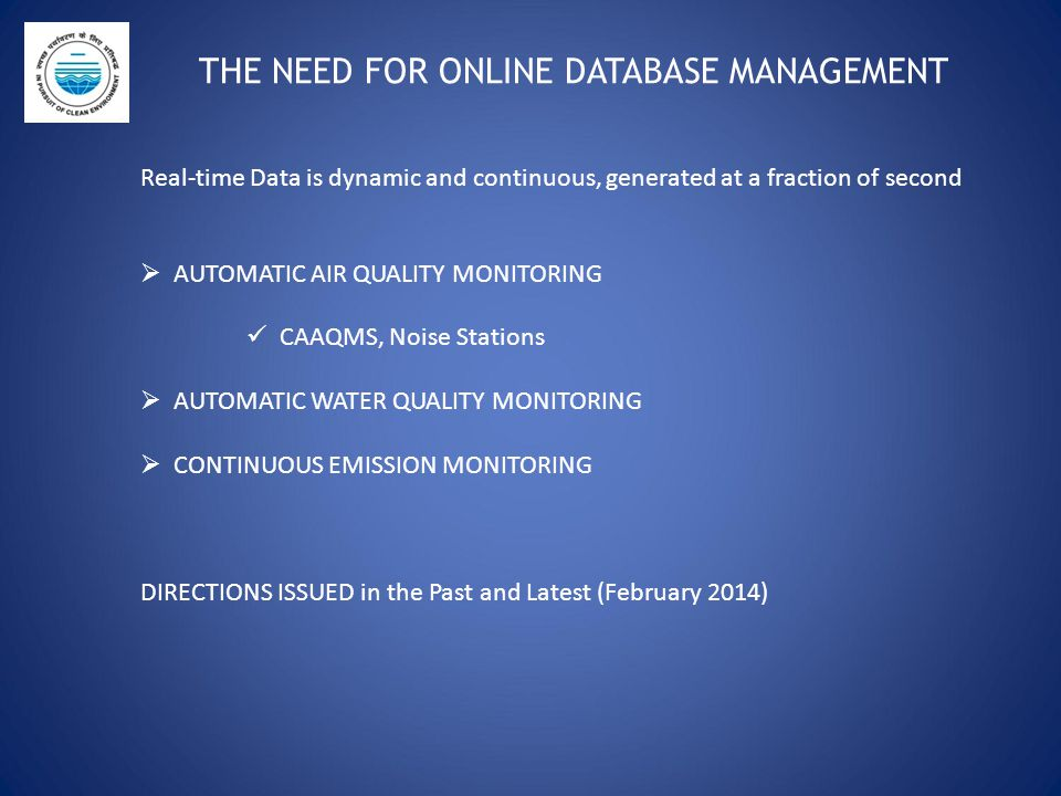 THE NEED FOR ONLINE DATABASE MANAGEMENT