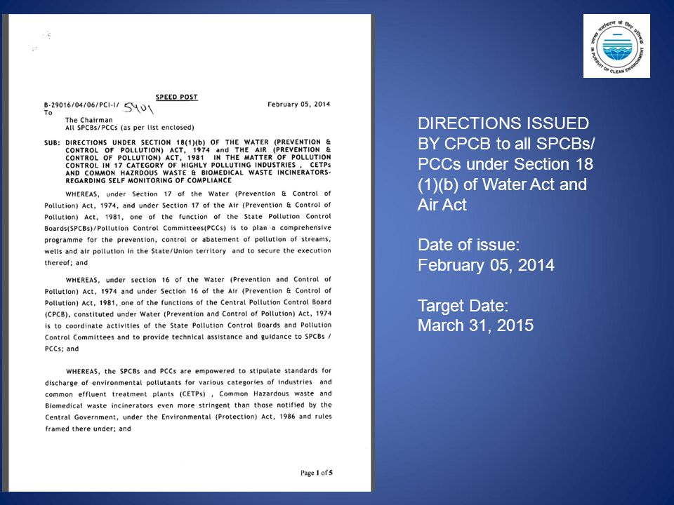 DIRECTIONS ISSUED BY CPCB to all SPCBs/ PCCs under Section 18 (1)(b) of Water Act and Air Act