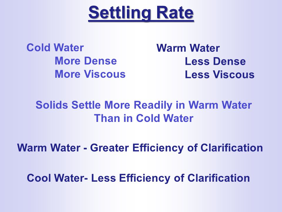 Solids Settle More Readily in Warm Water