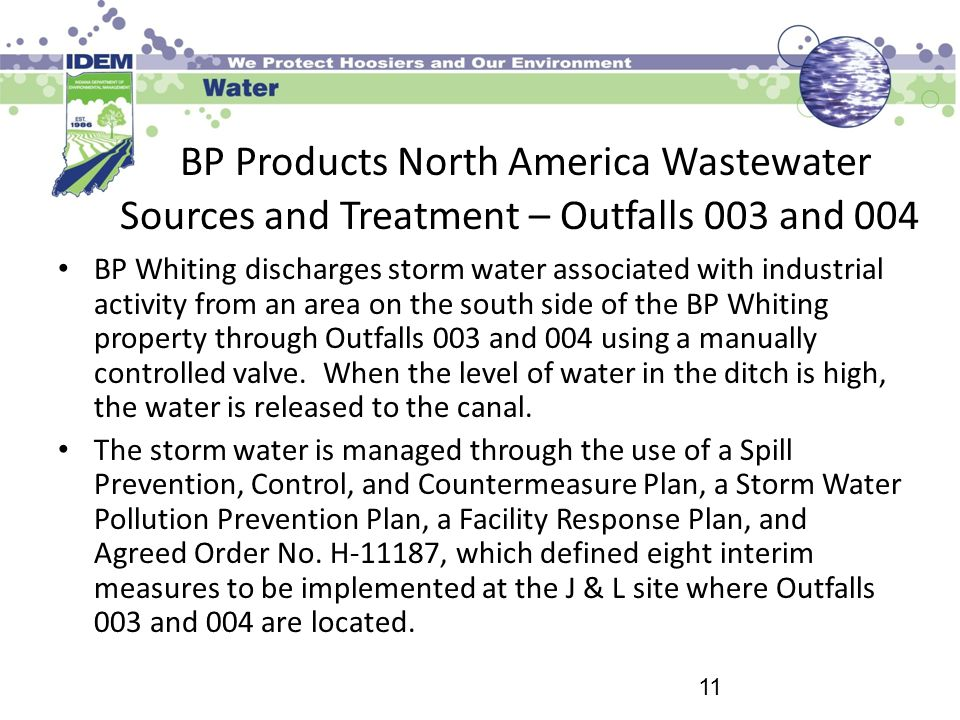 BP Products North America Wastewater Sources and Treatment – Outfalls 003 and 004