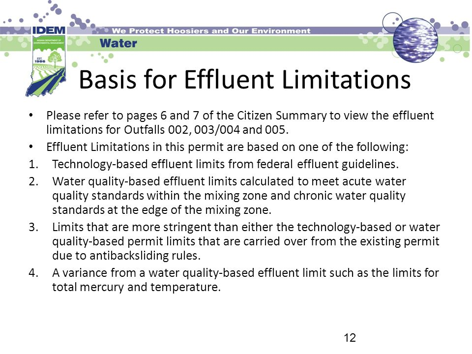 Basis for Effluent Limitations