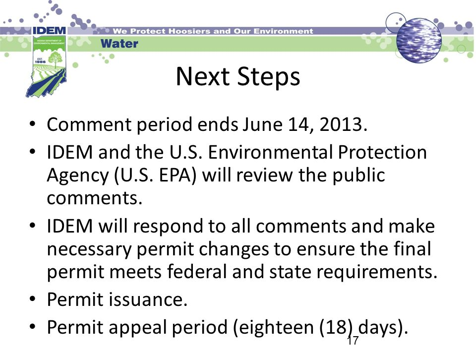 Next Steps Comment period ends June 14, 2013.