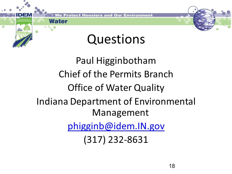 Questions Paul Higginbotham Chief of the Permits Branch
