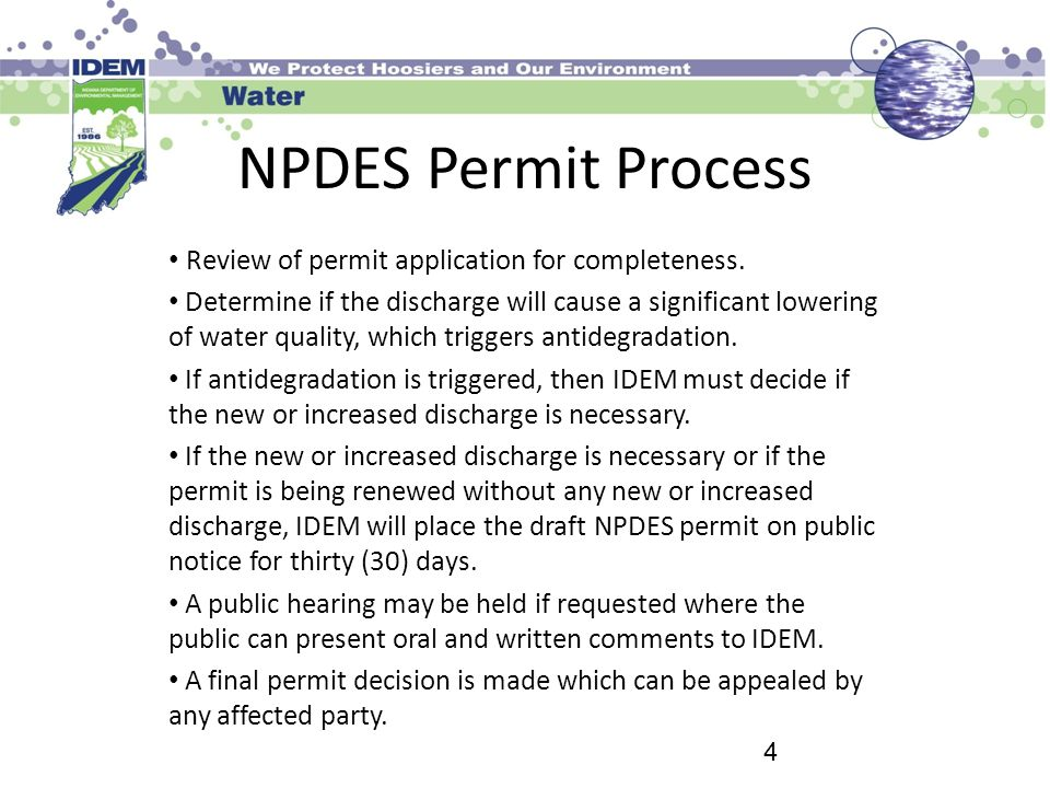 NPDES Permit Process Review of permit application for completeness.