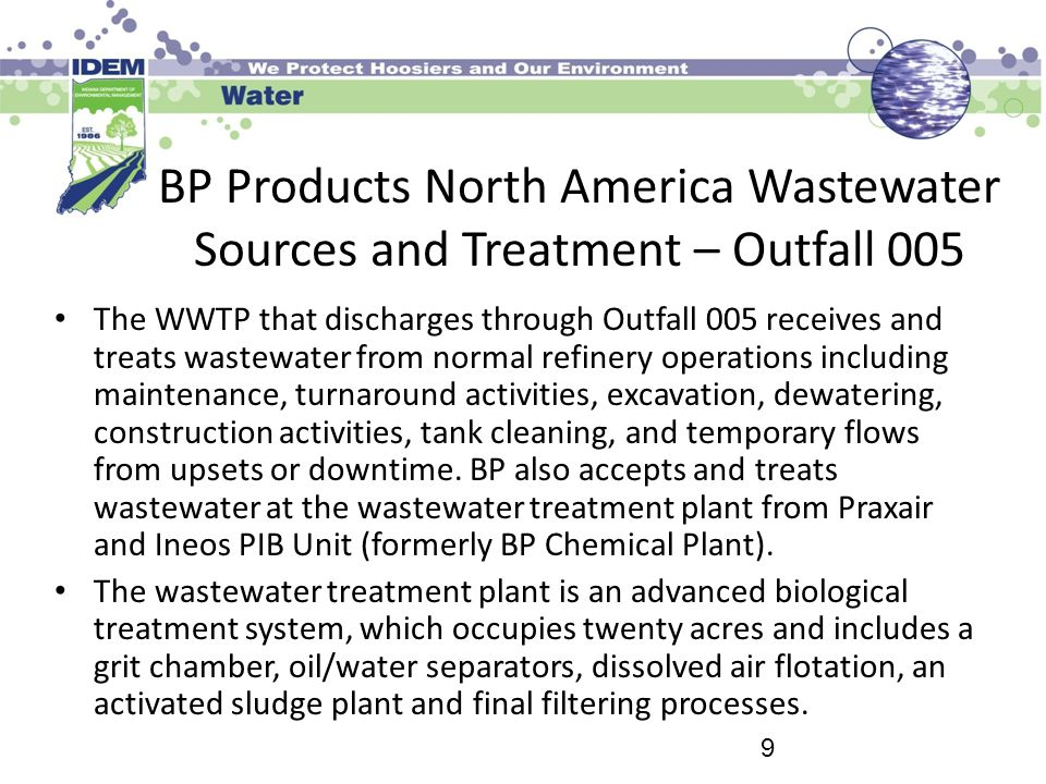 BP Products North America Wastewater Sources and Treatment – Outfall 005