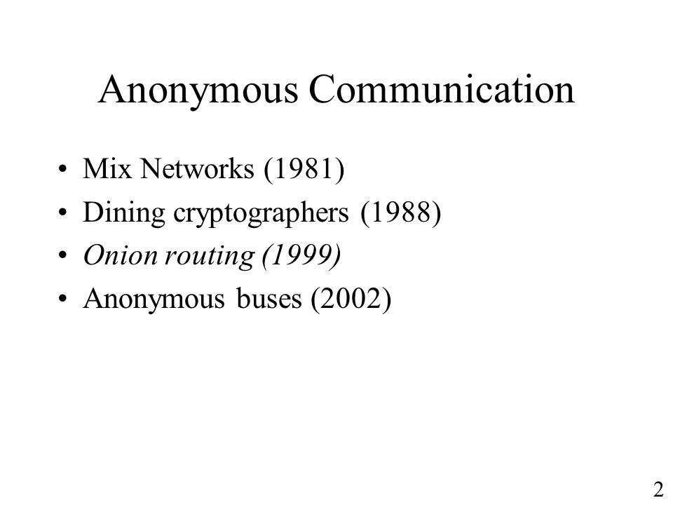 Anonymous Communication
