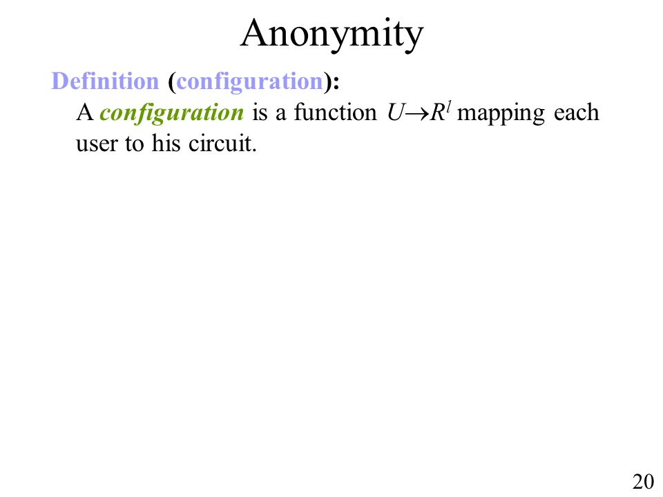 Anonymity Definition (configuration): A configuration is a function URl mapping each user to his circuit.