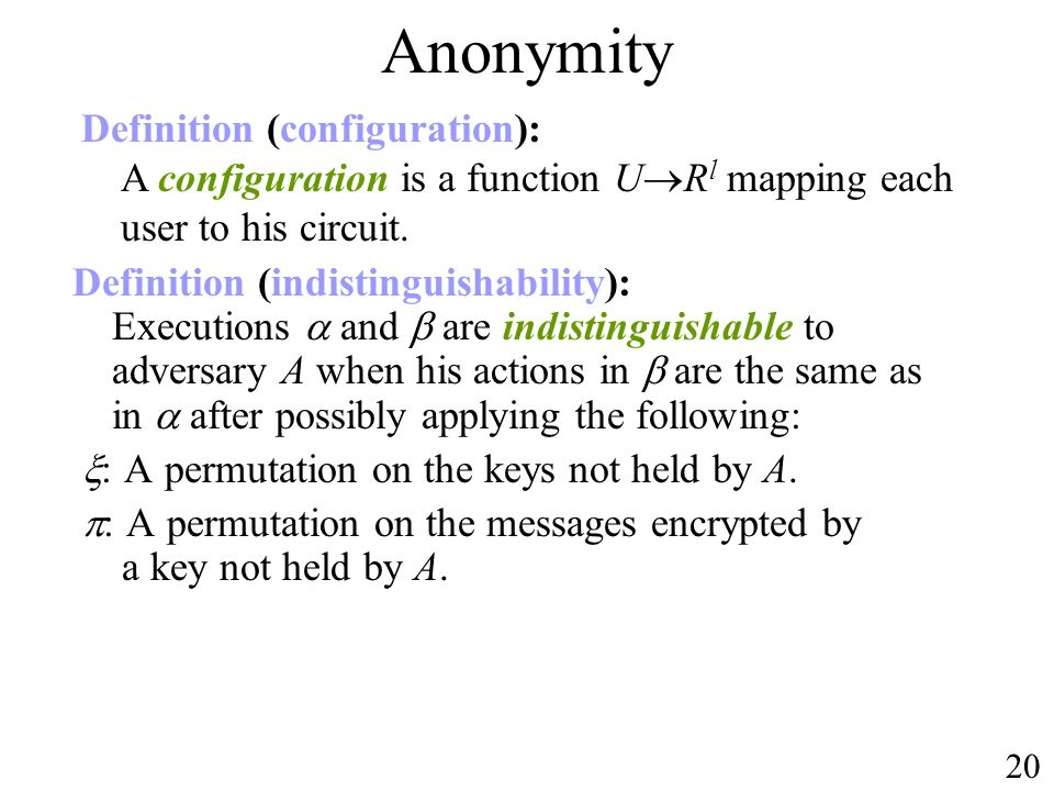 Anonymity Definition (configuration): A configuration is a function URl mapping each user to his circuit.