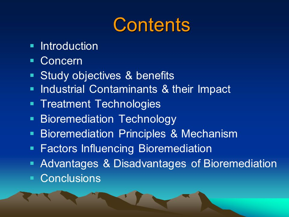 Contents Introduction Concern Study objectives & benefits