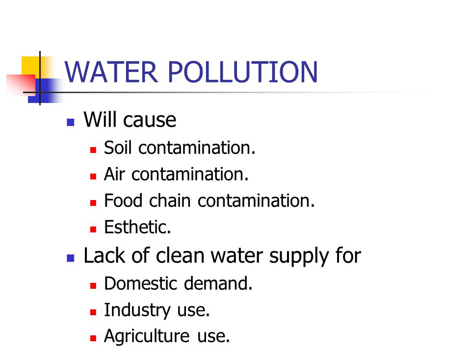 WATER POLLUTION Will cause Lack of clean water supply for