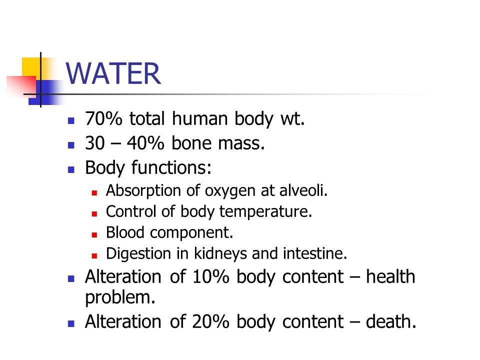 WATER 70% total human body wt. 30 – 40% bone mass. Body functions: