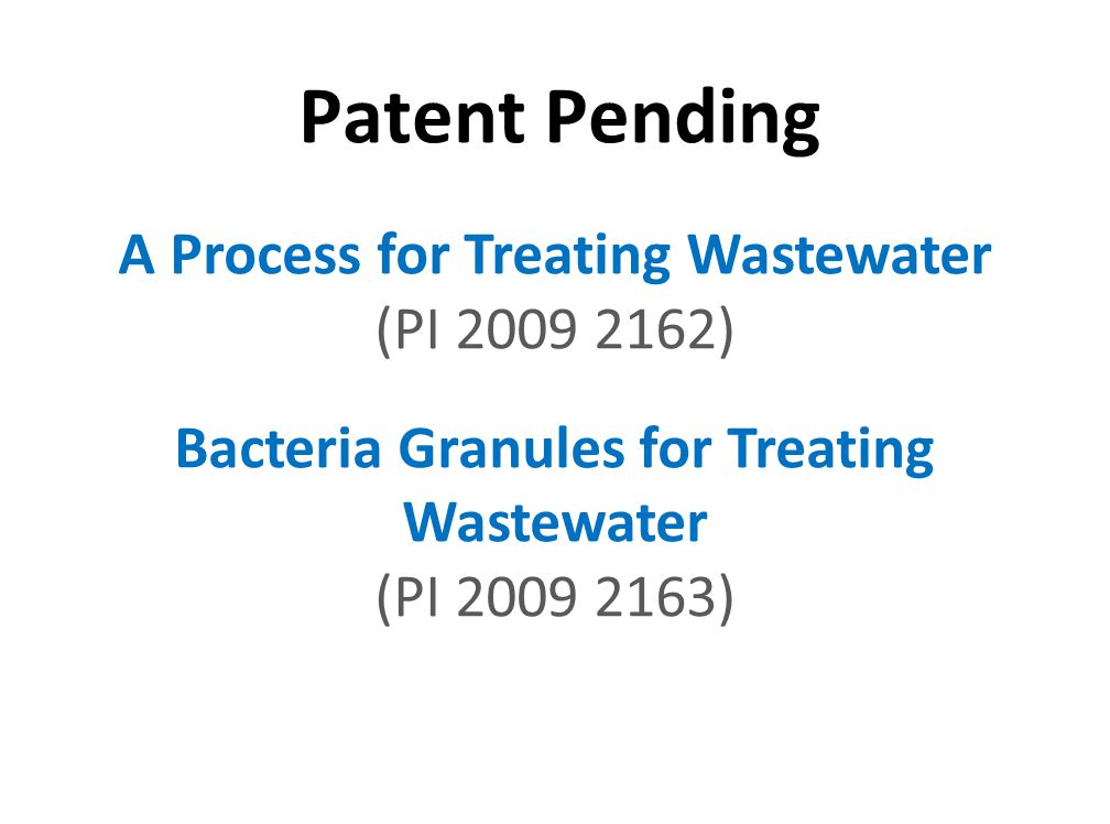 Patent Pending A Process for Treating Wastewater (PI 2009 2162)