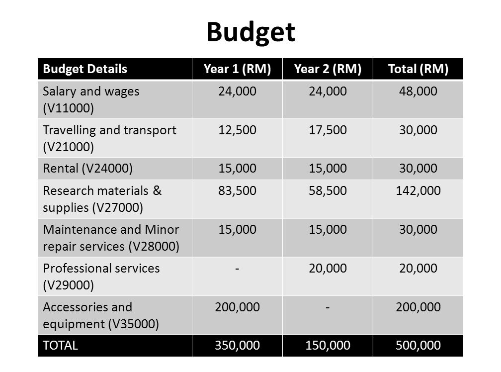 Budget Budget Details Year 1 (RM) Year 2 (RM) Total (RM)