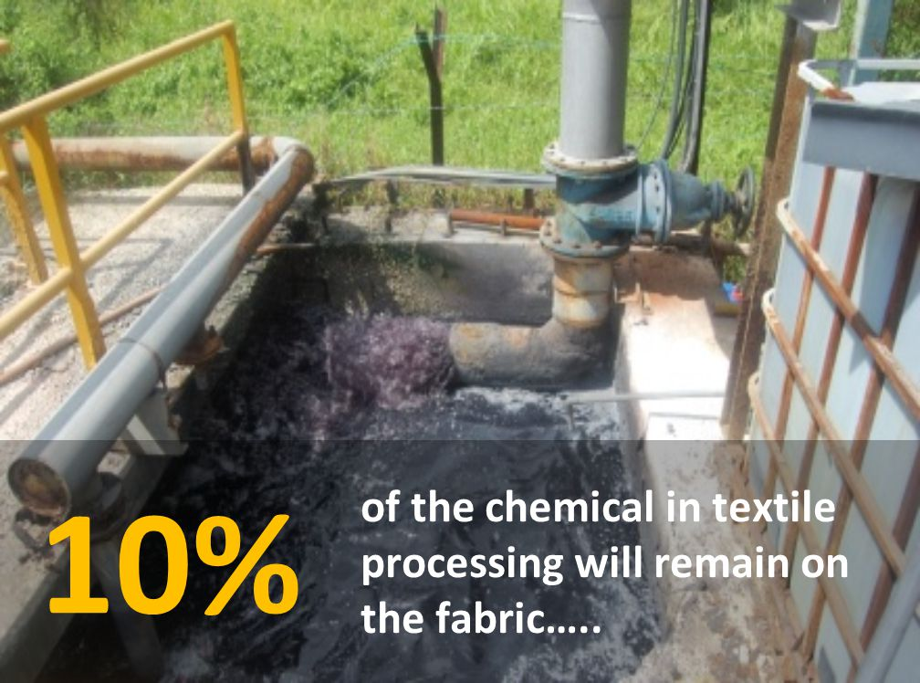 10% of the chemical in textile processing will remain on the fabric…..