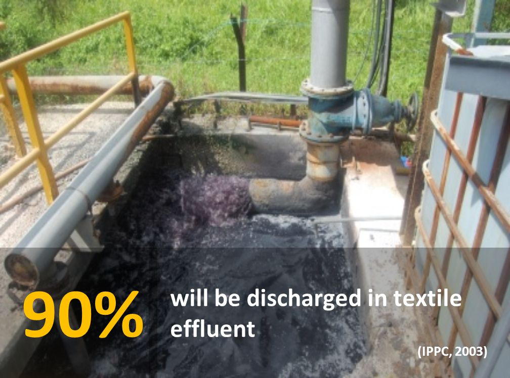 90% will be discharged in textile effluent (IPPC, 2003)