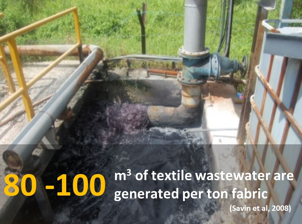 80 -100 m3 of textile wastewater are generated per ton fabric