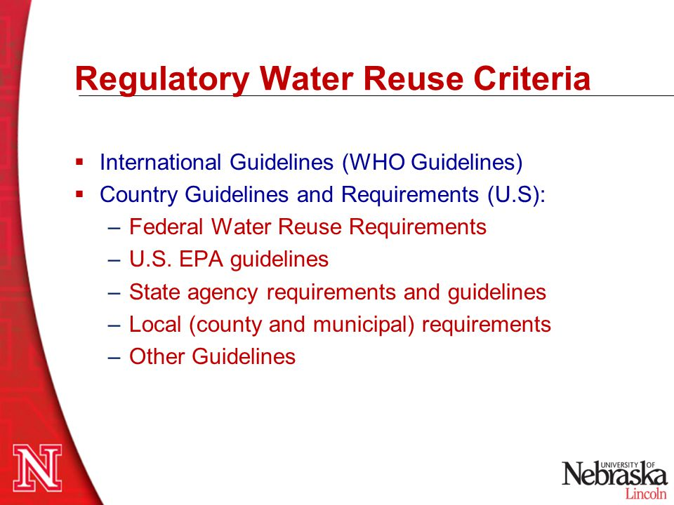 Regulatory Water Reuse Criteria
