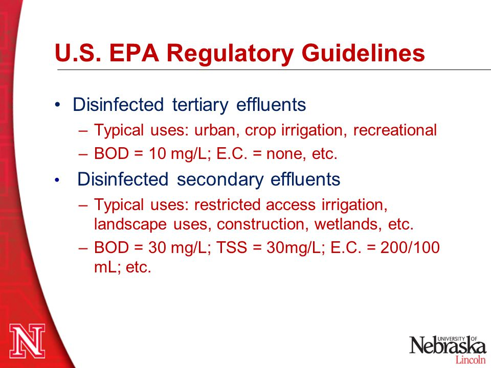 U.S. EPA Regulatory Guidelines