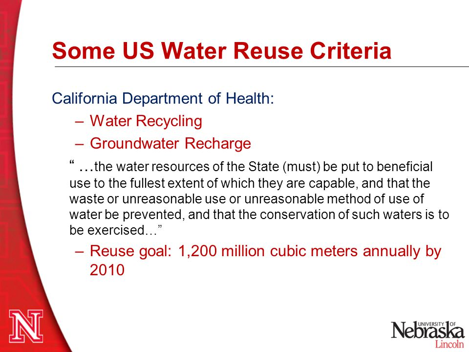 Some US Water Reuse Criteria
