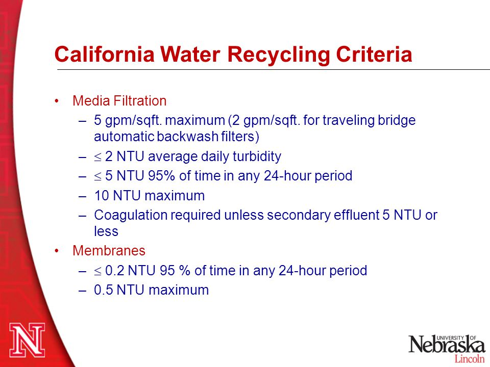 California Water Recycling Criteria