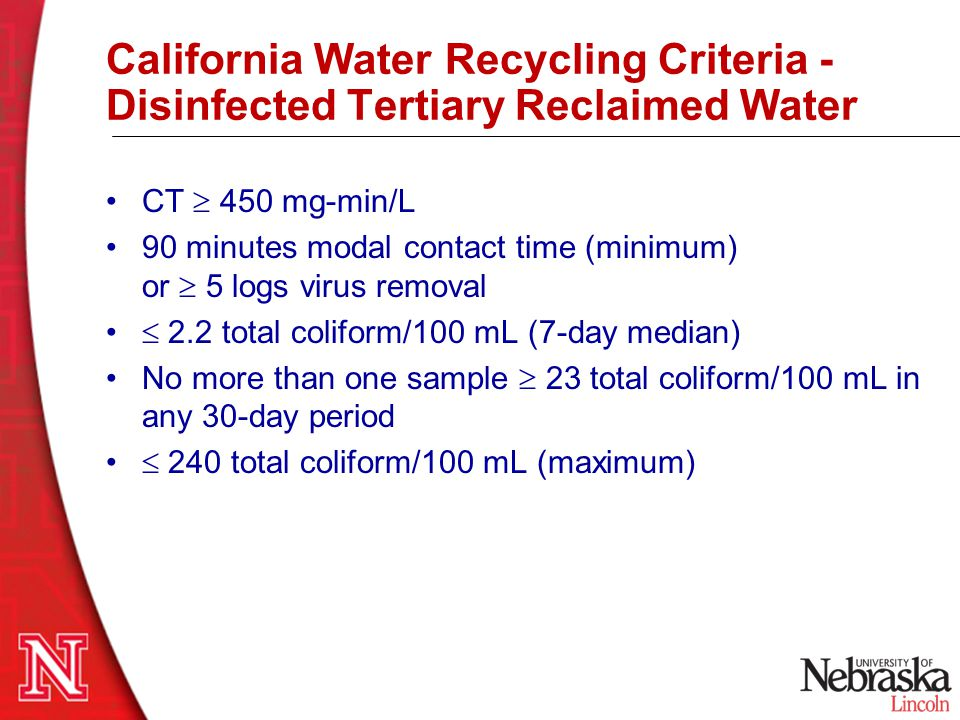 California Water Recycling Criteria - Disinfected Tertiary Reclaimed Water