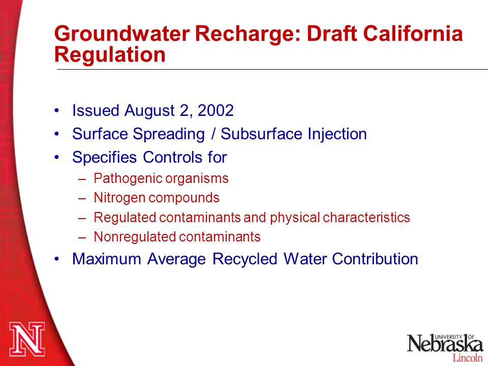 Groundwater Recharge: Draft California Regulation