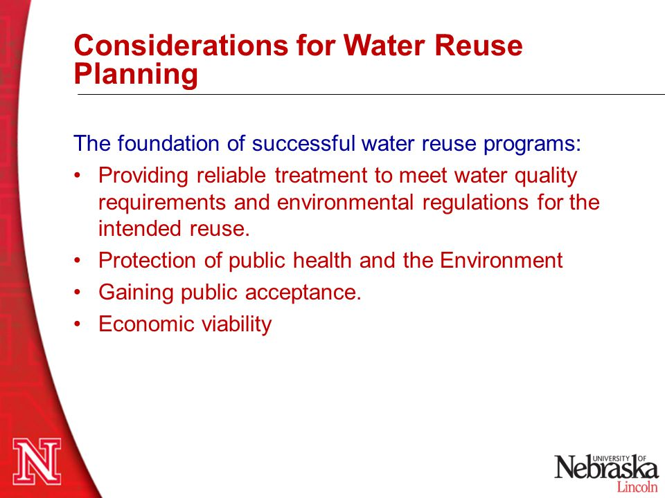 Considerations for Water Reuse Planning