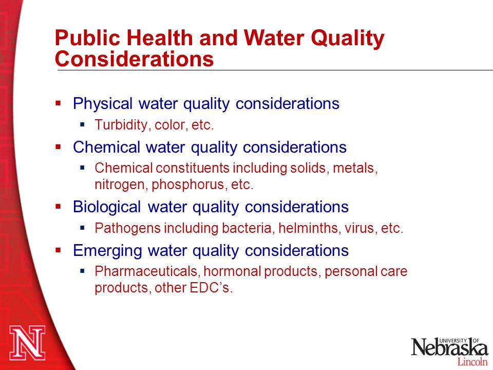 Public Health and Water Quality Considerations
