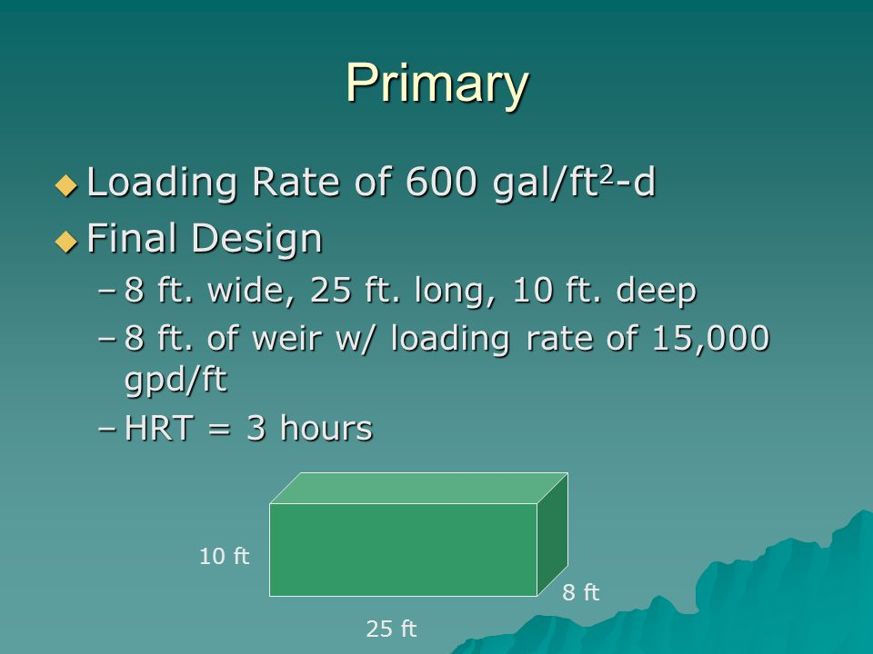 Primary Loading Rate of 600 gal/ft2-d Final Design