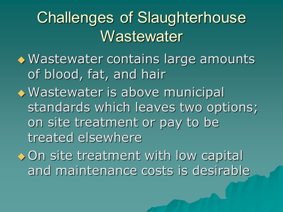 Challenges of Slaughterhouse Wastewater