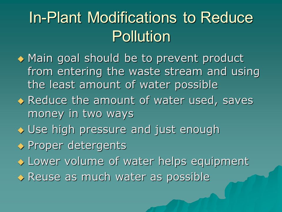 In-Plant Modifications to Reduce Pollution
