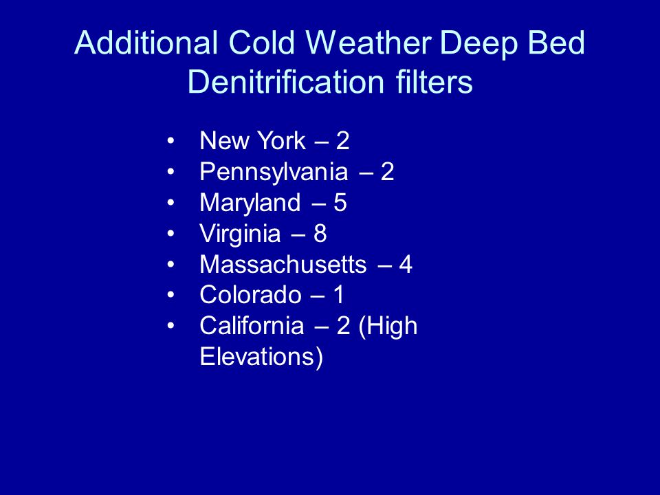 Additional Cold Weather Deep Bed Denitrification filters