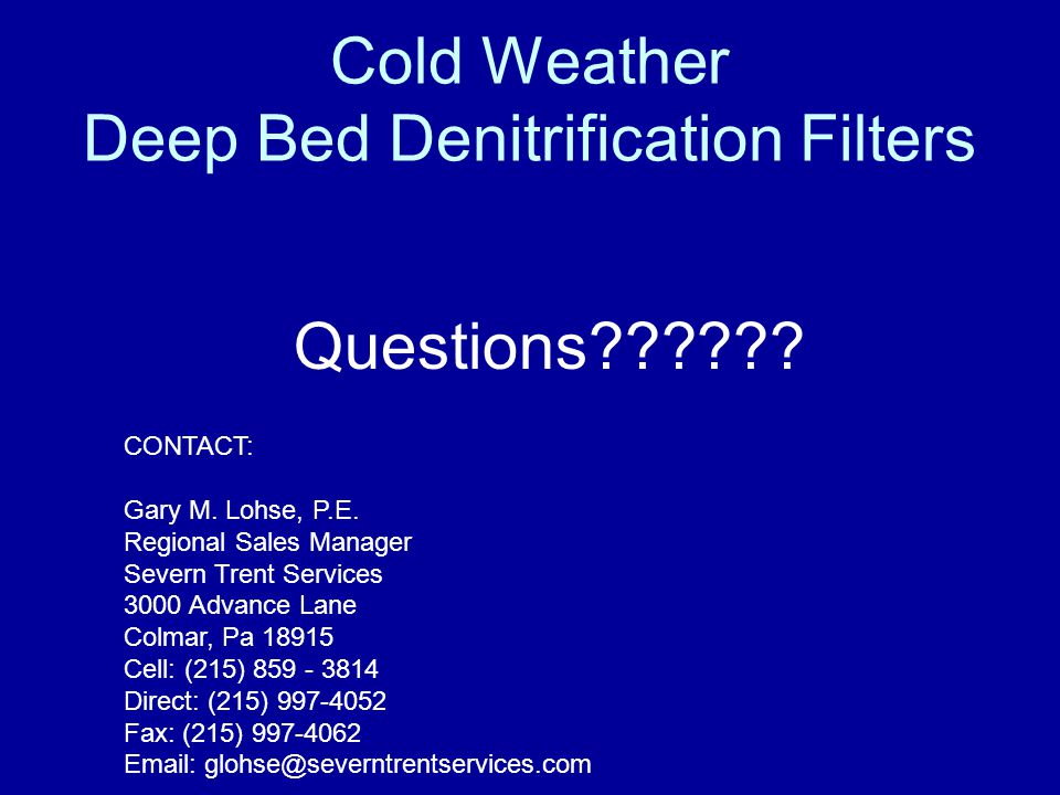 Cold Weather Deep Bed Denitrification Filters