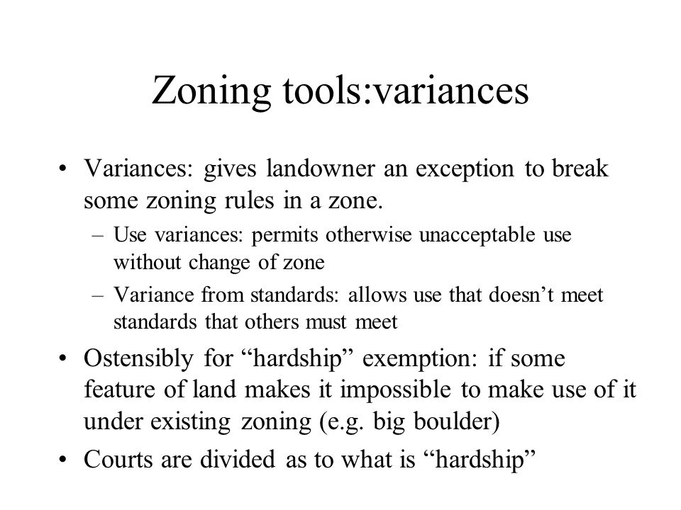 Zoning tools:variances